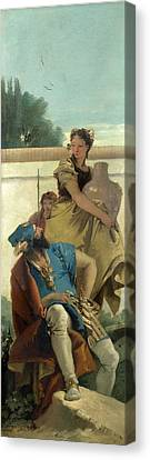 Seated Man Woman With Jar And Boy Canvas Print