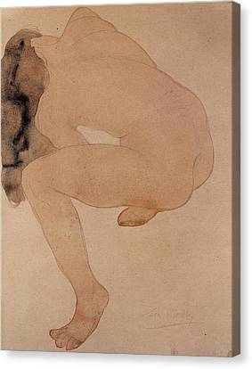 Seated Nude Bending Over Canvas Print by Auguste Rodin