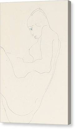 Seated Nude Canvas Print by Egon Schiele