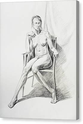 Seated Nude Model Study Canvas Print by Irina Sztukowski