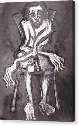 Seated Nude Old Man Canvas Print by Kenneth Agnello