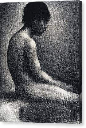 Seated Nude Study Canvas Print by Georges Seurat