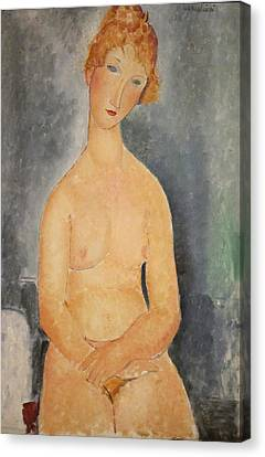 Seated Nude Woman Painting Canvas Print by