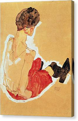 Woman Drawings Drawings Canvas Print - Seated Woman, 1911  by Egon Schiele