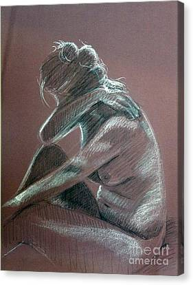 Seated Woman Side Light Canvas Print