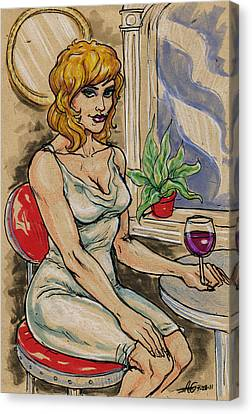 Seated Woman With Wine Canvas Print