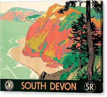 Seaton In Devon Canvas Print by Kenneth Shoesmith