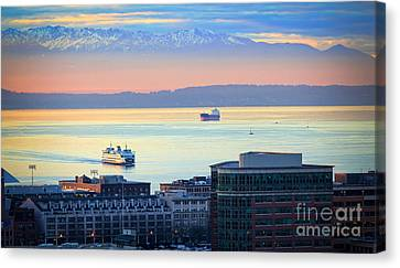 Pacific Northwest Ferry Canvas Print - Seattle And Elliott Bay by Inge Johnsson