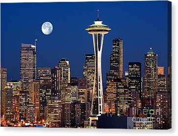 Downtown Canvas Print - Seattle At Full Moon by Inge Johnsson