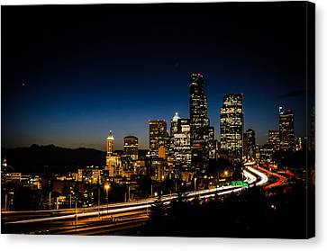 Seattle At Night Canvas Print by Brian Xavier