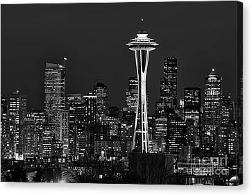 Seattle Black And White Canvas Print by Peter Dang