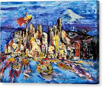 Seattle City Of Gold 1999 Canvas Print by Carla G Art Nitkey