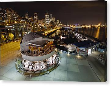 Canvas Print featuring the photograph Seattle City Skyline And Marina At Night by JPLDesigns
