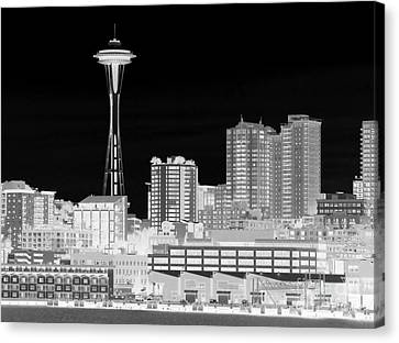 Seattle Cityscape - Bw Negative Canvas Print by Connie Fox