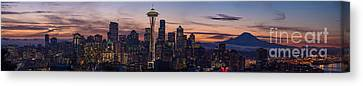 Seattle Cityscape Morning Light Canvas Print by Mike Reid