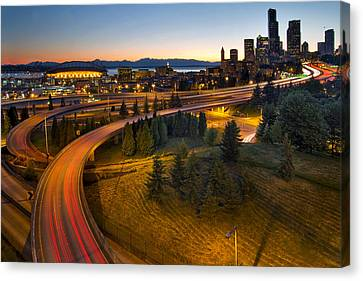 Canvas Print featuring the photograph Seattle Downtown Highway Traffic Light Trails by JPLDesigns