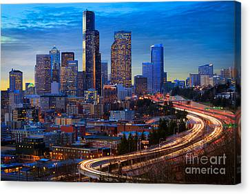 Seattle Downtown Canvas Print by Inge Johnsson