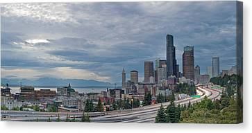 Canvas Print featuring the photograph Seattle Downtown Skyline And Freeway Panorama by JPLDesigns