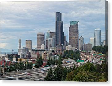 Canvas Print featuring the photograph Seattle Downtown Skyline On A Cloudy Day by JPLDesigns