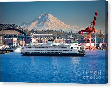 Pacific Northwest Ferry Canvas Print - Seattle Harbor by Inge Johnsson