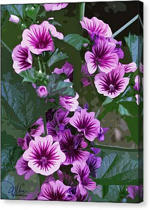 Seattle Hollyhocks Canvas Print by Douglas MooreZart
