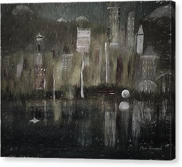Seattle In The Rain Cityscape Canvas Print