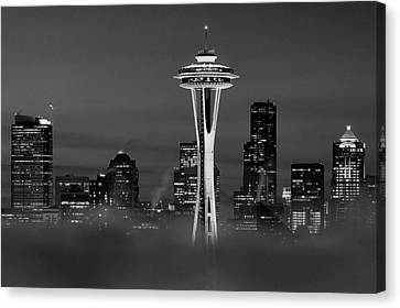 Seattle Morning Mist Black And White Canvas Print by Benjamin Yeager