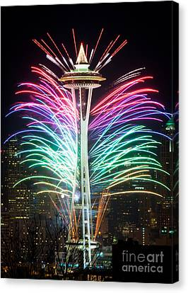 Seattle New Year Canvas Print by Inge Johnsson