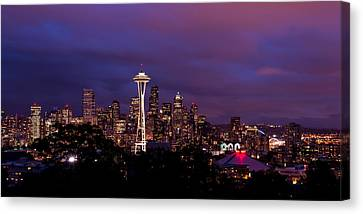 Seattle Night Canvas Print by Chad Dutson