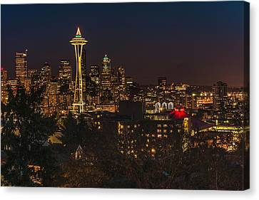 Seattle Night Lights Canvas Print by Gene Garnace