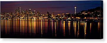 Seattle Night Reflections Canvas Print