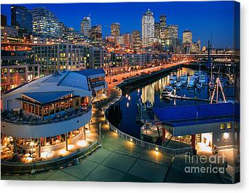 Seattle Piers At Night Canvas Print