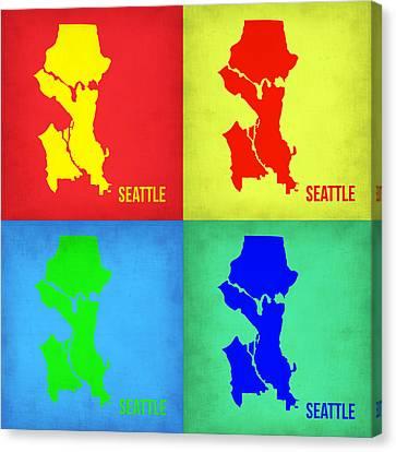 Seattle Pop Art Map 1 Canvas Print by Naxart Studio