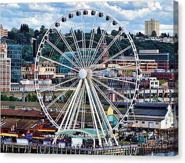 Seattle Port Ferris Wheel Canvas Print by Gena Weiser