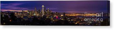 Seattle Pre Sunrise Wide Canvas Print by Mike Reid