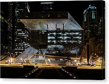 Seattle Public Library At Night Canvas Print by Brian Xavier