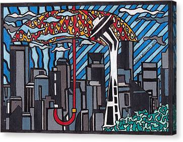 Seattle Rain Canvas Print by Molly Williams