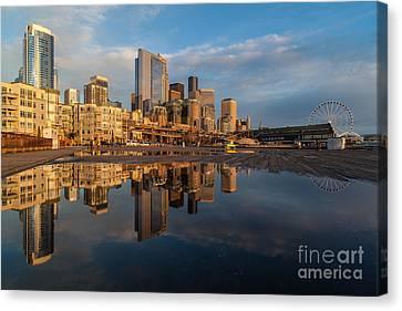 Seattle Reflection Golden Light Canvas Print