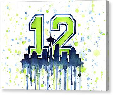 Silhouettes Canvas Print - Seattle Seahawks 12th Man Art by Olga Shvartsur