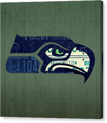 Seattle Seahawks Football Team Retro Logo Washington State License Plate Art Canvas Print