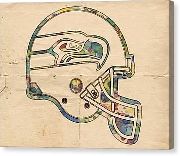 Seattle Seahawks Helmet Art Canvas Print by Florian Rodarte