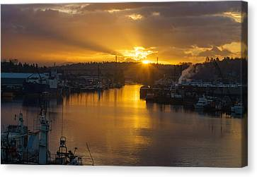 Seattle Ship Canal Sunstar Morning Canvas Print by Mike Reid