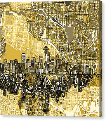 Abstract Digital Canvas Print - Seattle Skyline Abstract 2 by Bekim Art