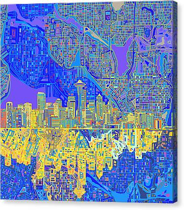 Abstract Digital Canvas Print - Seattle Skyline Abstract 6 by Bekim Art