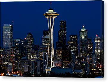 Seattle Skyline At Night Canvas Print by Jetson Nguyen