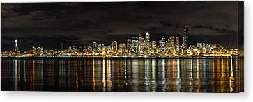 Puget Sound Canvas Print - Seattle Skyline At Night by Tanya Harrison