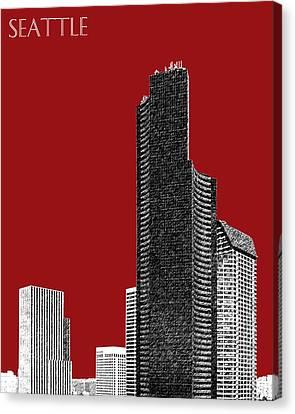 Seattle Skyline Columbia Tower - Dark Red Canvas Print by DB Artist