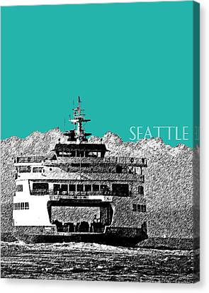 Seattle Skyline Ferry - Teal Canvas Print by DB Artist