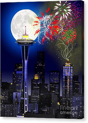 Seattle Skyline Canvas Print by Methune Hively