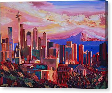 Seattle Skyline With Space Needle And Mt Rainier Canvas Print by M Bleichner